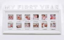 Az első évem - montázskeret babafotóknak - fehér