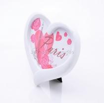 Szív alakú képkeret - fehér