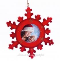 Karácsonyi hópehely saját fotóval 02 - piros