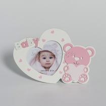 Babás képkeret - macis - szív alakú