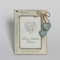 Dupla szívecskés, vintage képkeret, világos színű