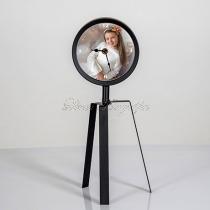 Fém, lábon álló óra - saját képpel