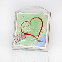 Szerelem térkép- táblakép fából